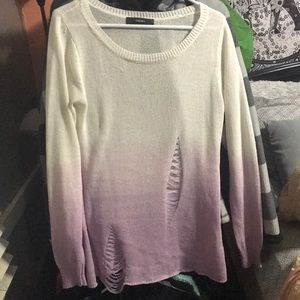 Purple ripped ombré forever 21 sweater